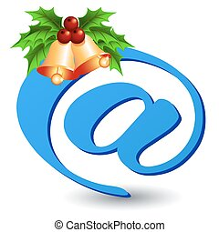 Email  icon with golden bells