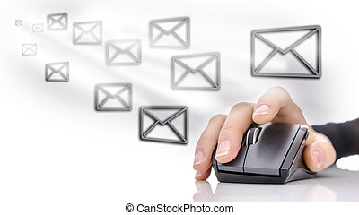 Email icons around female hand using computer mouse. Email marketing concept.