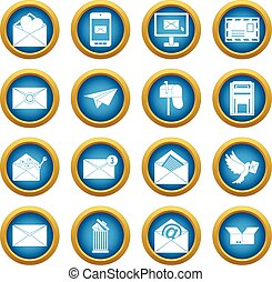 Email icons blue circle set