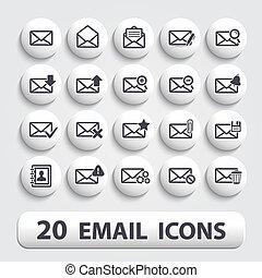 Email icons buttons set