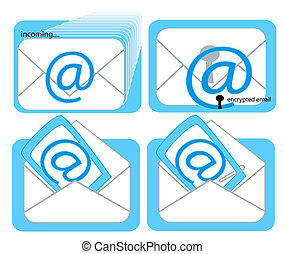 Email Icons - Incoming Email, Encrypted Email, Opened Email,...