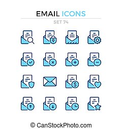 Email icons. Vector line icons set. Premium quality. Simple thin line design. Modern outline symbols collection, pictograms.