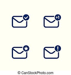 email, inbox, mail vector icons on white