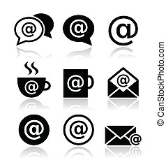 Email, internet cafe, wifi icons