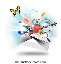 Email Internet Communication - A letter or email is opening ...
