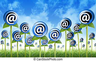 Email Flowers are sprouting for a internet, newsletter inbox contact theme. The flowers have an at symbol to signify an email address. Also use it for a spam or marketing concept