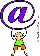 email kid - Child holding up email symbol - toddler art...