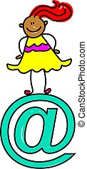 email kid - Ethnic child standing on email symbol - toddler...
