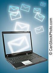 email., laptop, grund