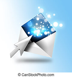 Email Letter With Sparkles and Arrow - A email letter is...