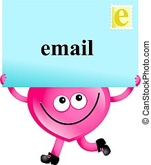 email love - Mr Heart holding a giant email message isolated...