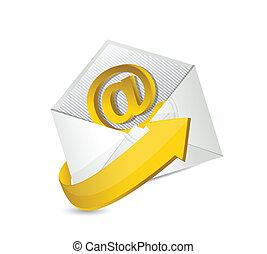 email., mail., contactar-nos, ilustração, desenho