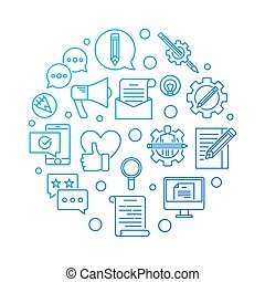 Email Marketing blue round vector outline illustration