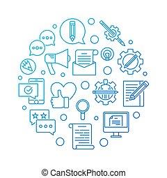 Email Marketing blue round vector outline illustration