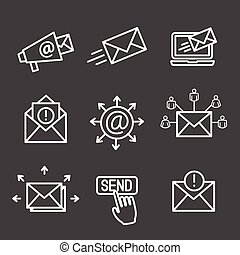 Email marketing campaigns icon set with email list, announcement, send button