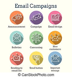 Email marketing campaigns icon set with email list, announcement, & send button