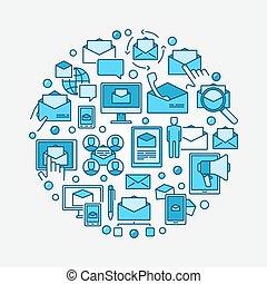 Email marketing circular illustration