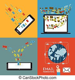 Email marketing concept. Direct mail, mailing management and mobile subscribe
