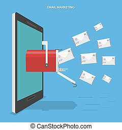 Email marketing flat vector concept.
