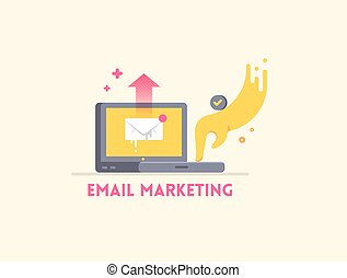 Email marketing icon concept. Laptop with hand sending a letter.