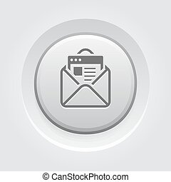 Email Marketing Icon. Grey Button Design.