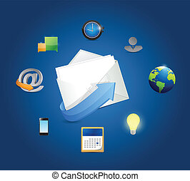 email marketing icons illustration design