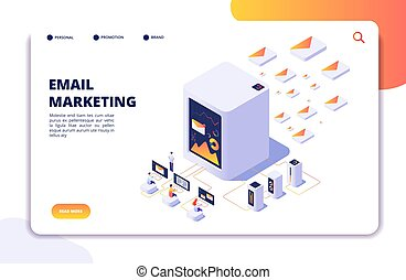 Email marketing isometric concept. Mail automation strategy...