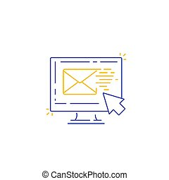 email marketing line icon, vector