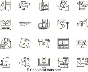 Email marketing line icons, signs, vector set, outline illustration concept