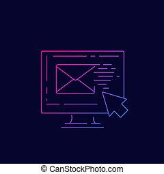 email marketing line vector icon