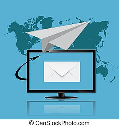 email marketing, monitor, vector