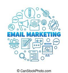 Email Marketing round blue vector concept illustration
