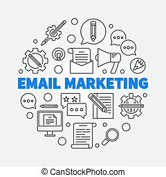 Email Marketing round vector concept line illustration