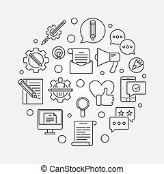 Email Marketing round vector illustration in line style