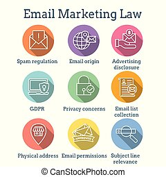 Email Marketing Rules - Regulations Icon Set - Email...