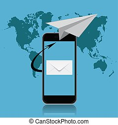 email marketing, smartphone, vector