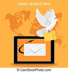 email marketing, tablet