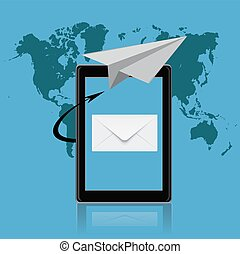 email marketing, tablet, vector