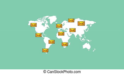 email marketing technology with world map and envelopes ,4k video animation