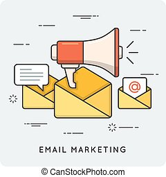 Email marketing. Thin line concept.