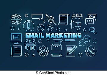 Email Marketing vector blue thin line horizontal illustration