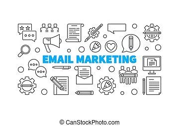 Email Marketing vector concept horizontal outline illustration