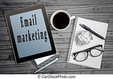 Email marketing words on tablet