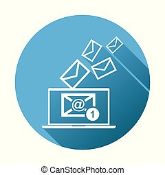 Email message on laptop. Vector illustration in flat style on blue round background.