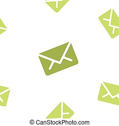 Email message seamless green pattern on white background mail document letter correspondence