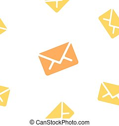 Email message seamless orange pattern on white background mail document letter correspondence