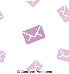 Email message seamless purple pattern on white background mail document letter correspondence
