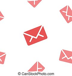 Email message seamless red pattern on white background mail document letter correspondence
