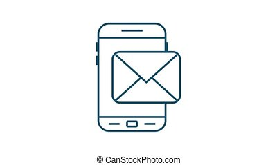 Email notification concept. New email on the smart phone screen. Motion graphics