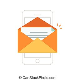 Email notification mobile phone, envelope with new message on smartphone